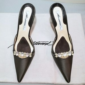 Brian Atwood black satin pointed toe heels